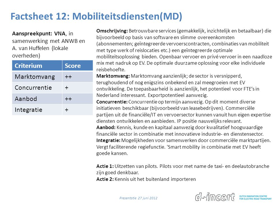 Factsheet 12: Mobiliteitsdiensten(MD)