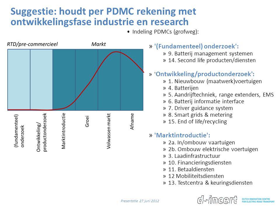 Suggestie: houdt per PDMC rekening met ontwikkelingsfase industrie en research