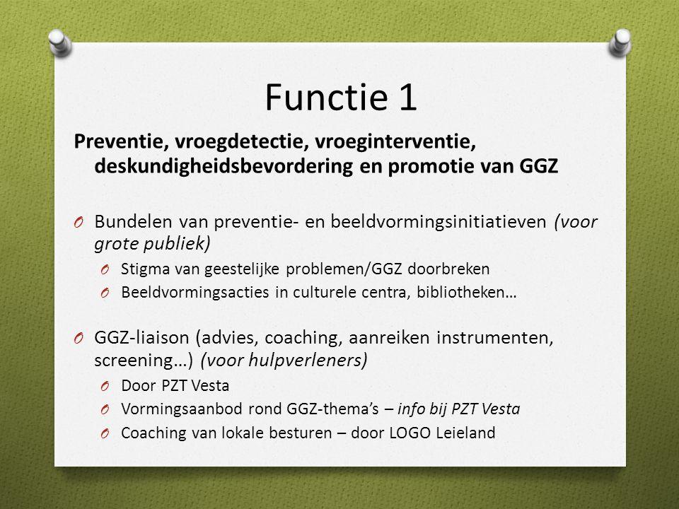 Functie 1 Preventie, vroegdetectie, vroeginterventie, deskundigheidsbevordering en promotie van GGZ.