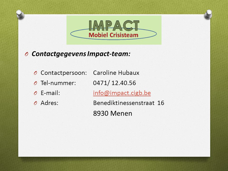 Contactgegevens Impact-team: