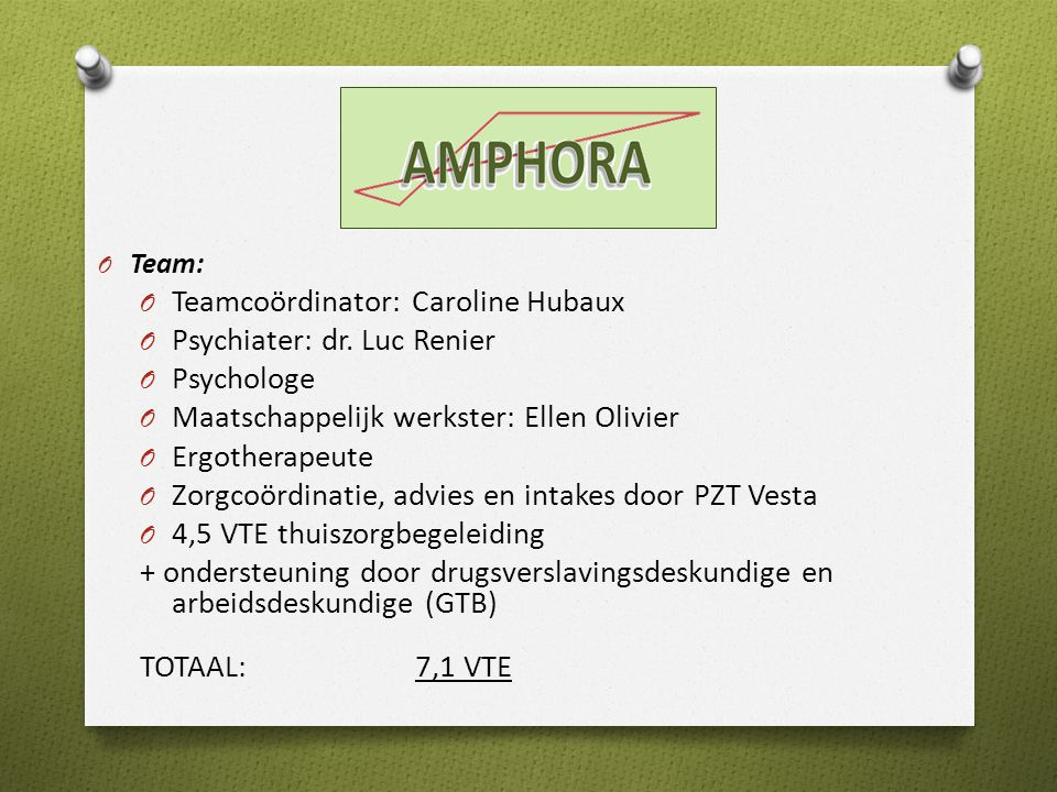 Teamcoördinator: Caroline Hubaux Psychiater: dr. Luc Renier Psychologe