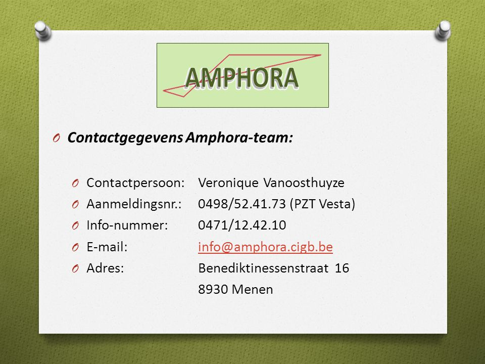 Contactgegevens Amphora-team: