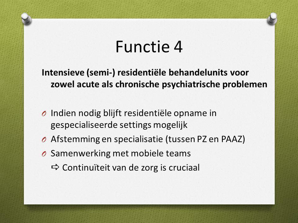 Functie 4 Intensieve (semi-) residentiële behandelunits voor zowel acute als chronische psychiatrische problemen.