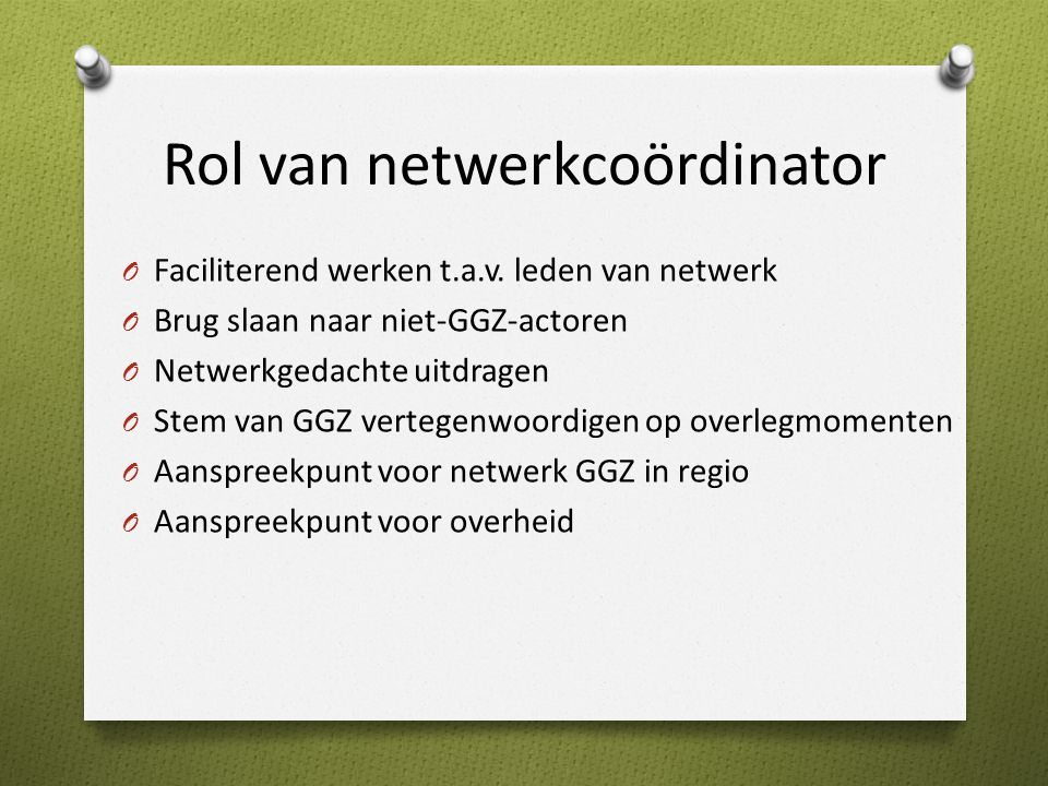 Rol van netwerkcoördinator