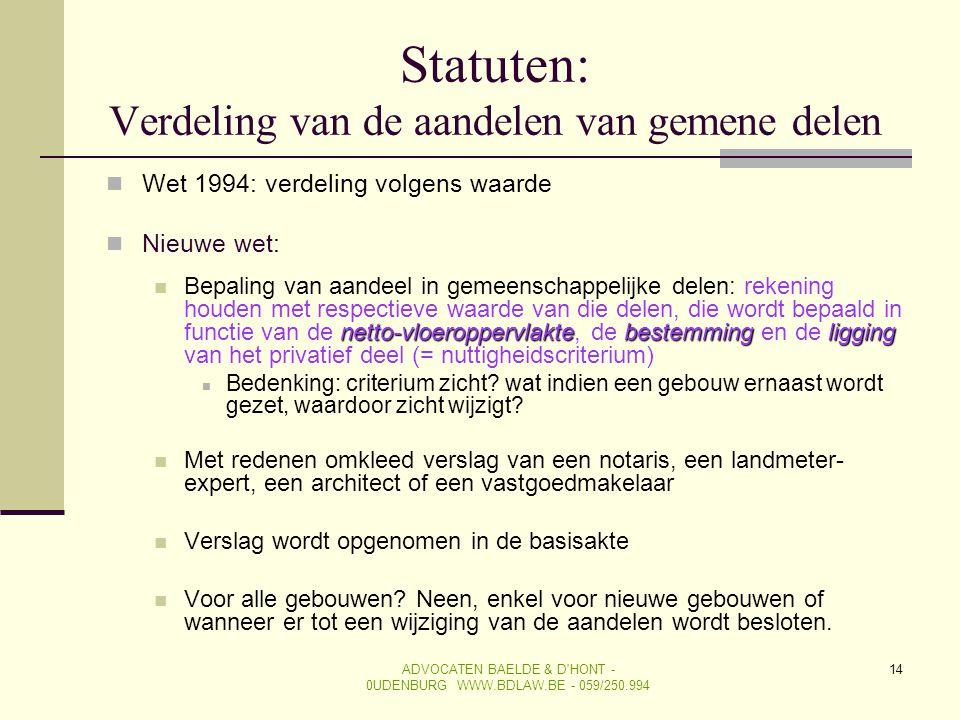 Statuten: Verdeling van de aandelen van gemene delen