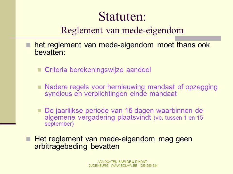 Statuten: Reglement van mede-eigendom