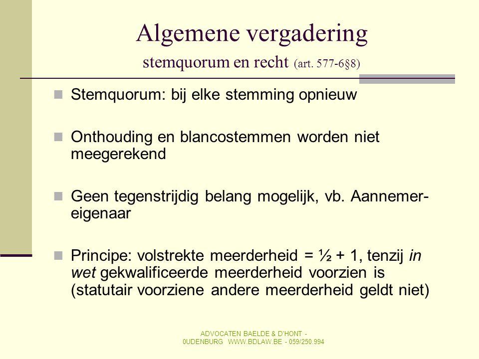 Algemene vergadering stemquorum en recht (art. 577-6§8)