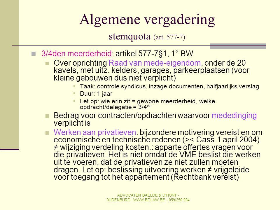 Algemene vergadering stemquota (art. 577-7)