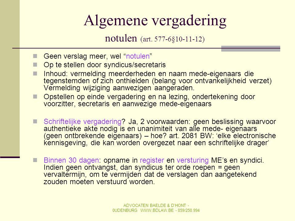 Algemene vergadering notulen (art. 577-6§10-11-12)