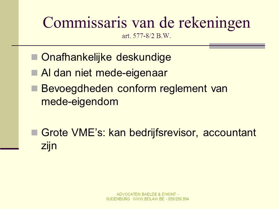 Commissaris van de rekeningen art. 577-8/2 B.W.