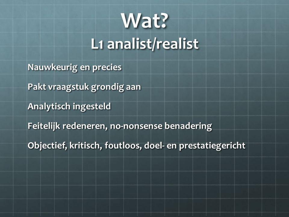 Wat L1 analist/realist