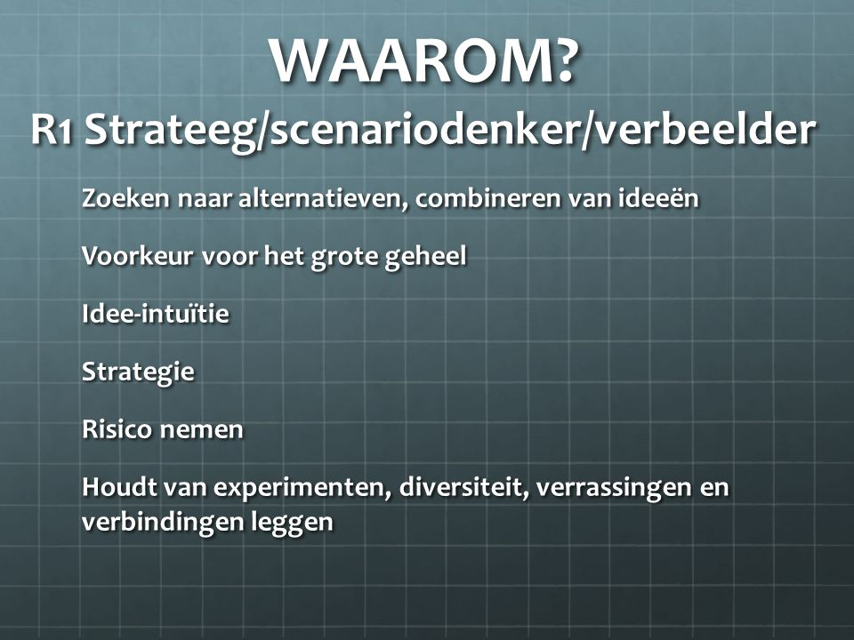 WAAROM R1 Strateeg/scenariodenker/verbeelder