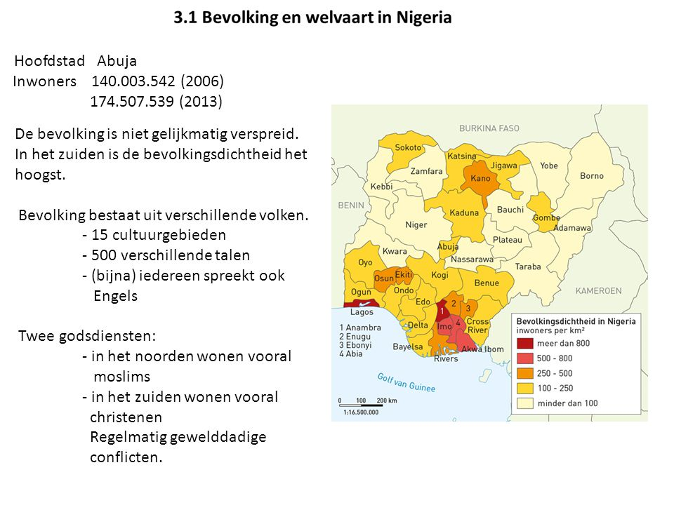 Hoofdstad Abuja Inwoners 140.003.542 (2006) 174.507.539 (2013)
