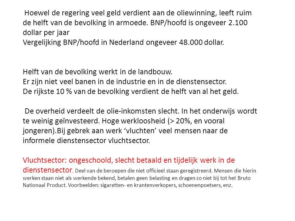 Vergelijking BNP/hoofd in Nederland ongeveer 48.000 dollar.