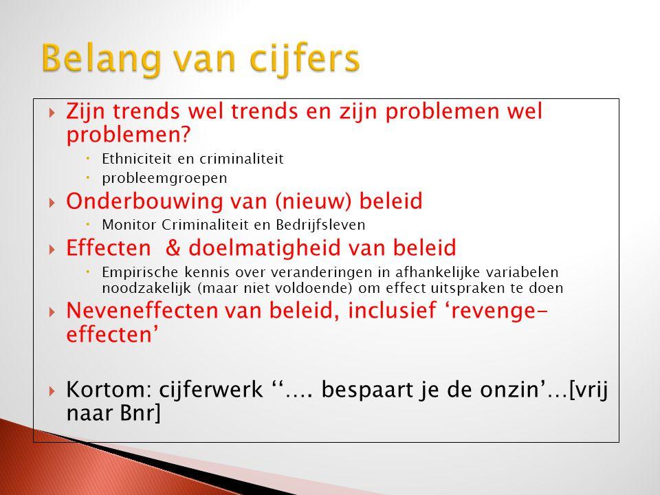 Belang van cijfers Zijn trends wel trends en zijn problemen wel problemen Ethniciteit en criminaliteit.