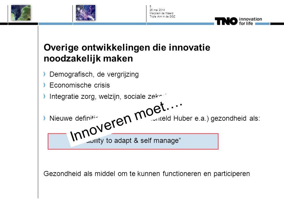 Overige ontwikkelingen die innovatie noodzakelijk maken