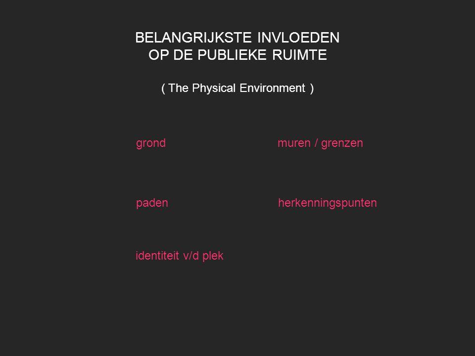 BELANGRIJKSTE INVLOEDEN OP DE PUBLIEKE RUIMTE ( The Physical Environment )