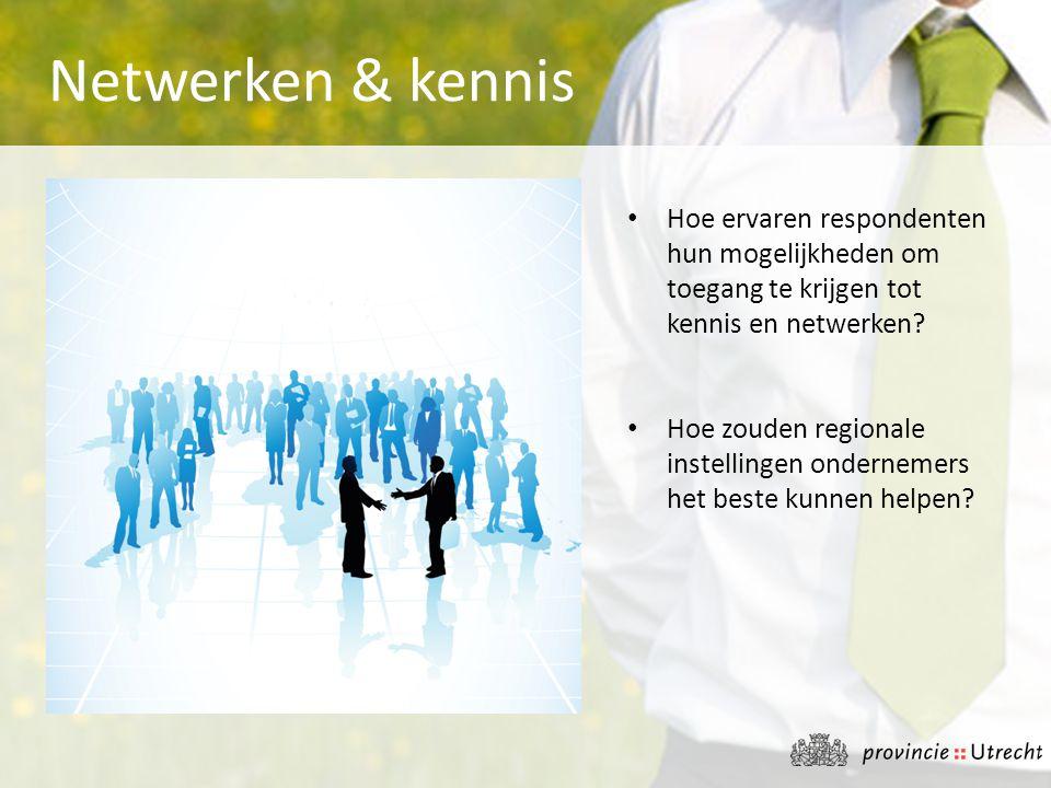 Netwerken & kennis Hoe ervaren respondenten hun mogelijkheden om toegang te krijgen tot kennis en netwerken