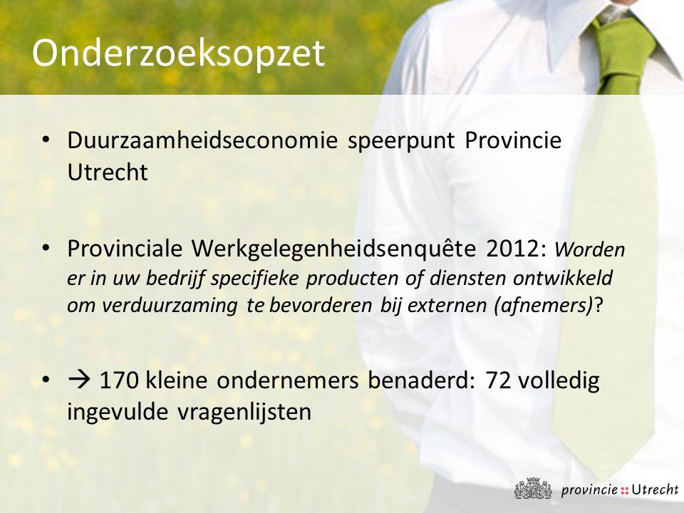 Onderzoeksopzet Duurzaamheidseconomie speerpunt Provincie Utrecht
