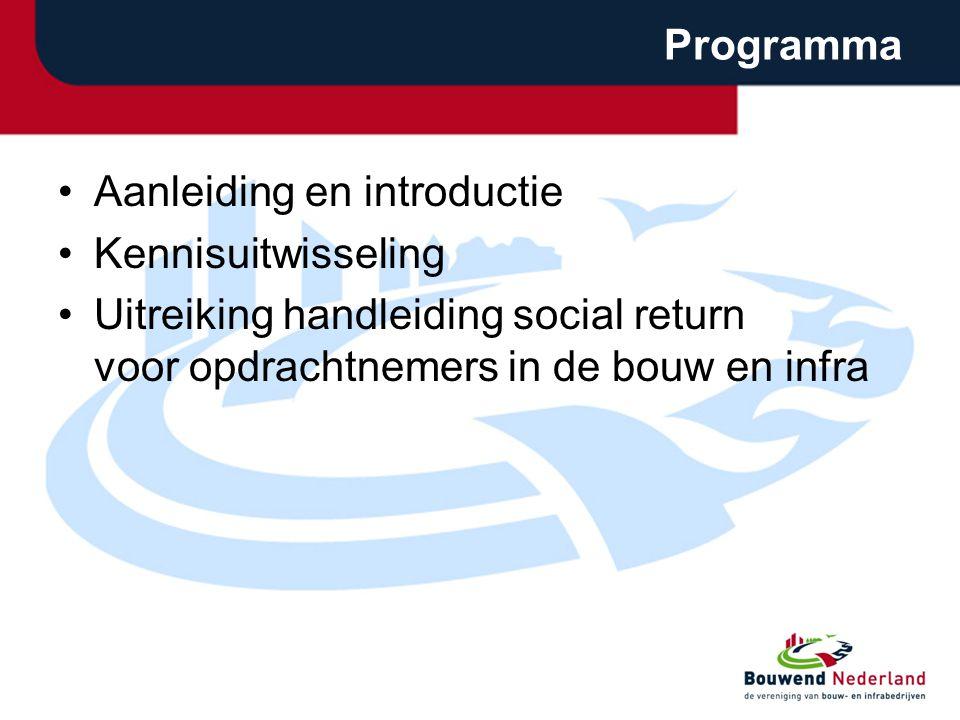 Programma Aanleiding en introductie. Kennisuitwisseling.