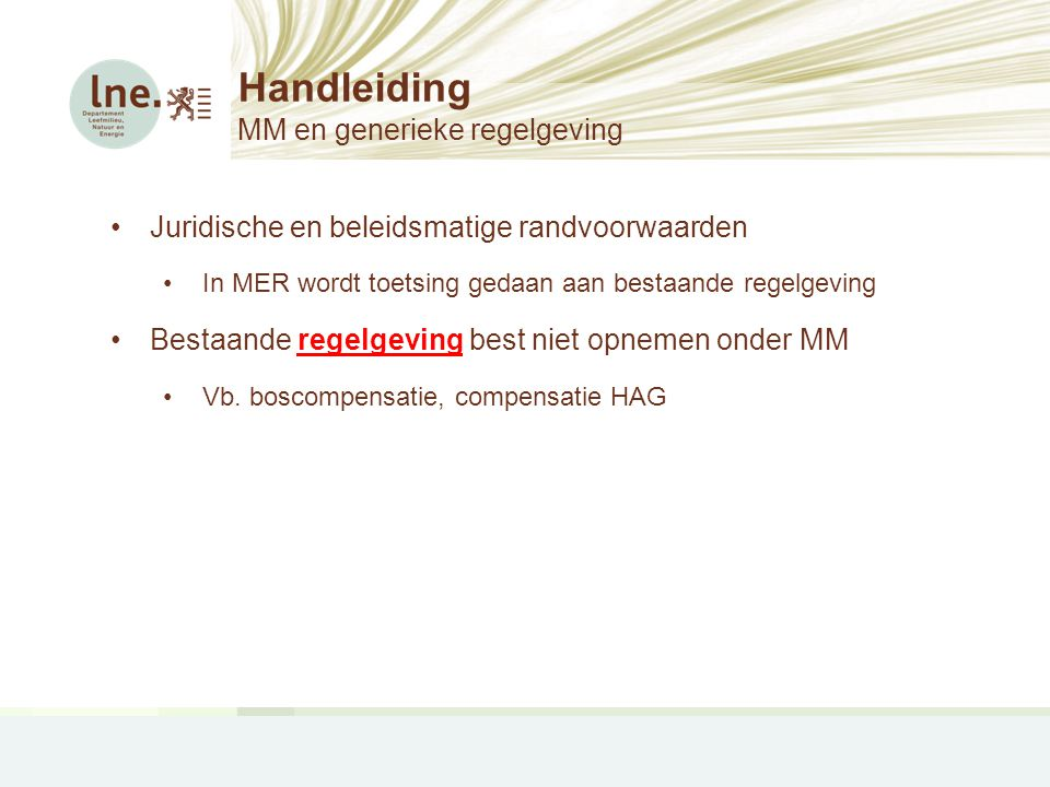 Handleiding MM en generieke regelgeving