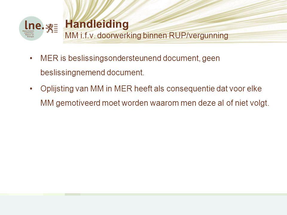 Handleiding MM i.f.v. doorwerking binnen RUP/vergunning