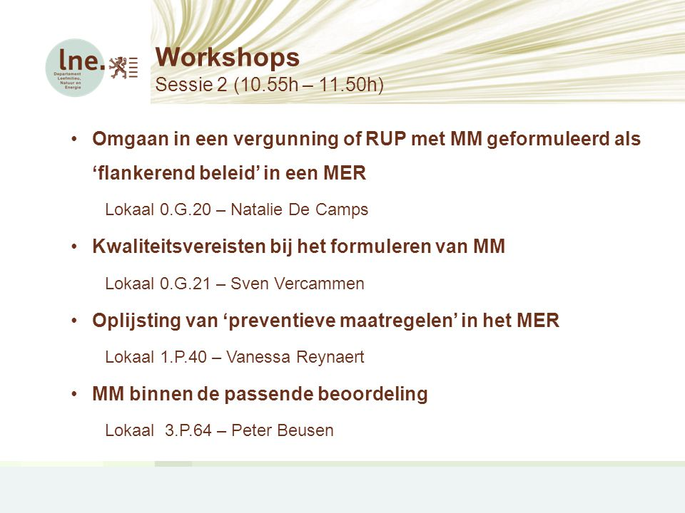 Workshops Sessie 2 (10.55h – 11.50h)