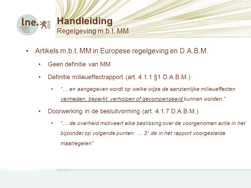 Handleiding Regelgeving m.b.t. MM