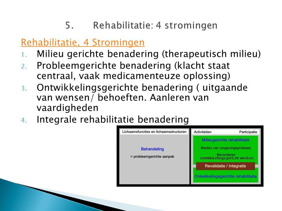 5. Rehabilitatie: 4 stromingen