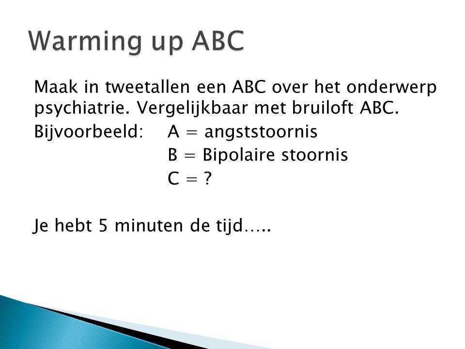 Warming up ABC Maak in tweetallen een ABC over het onderwerp psychiatrie. Vergelijkbaar met bruiloft ABC.