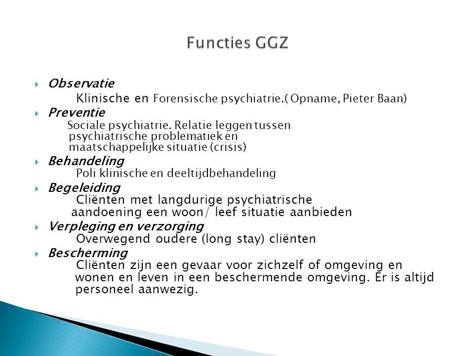 Functies GGZ Observatie