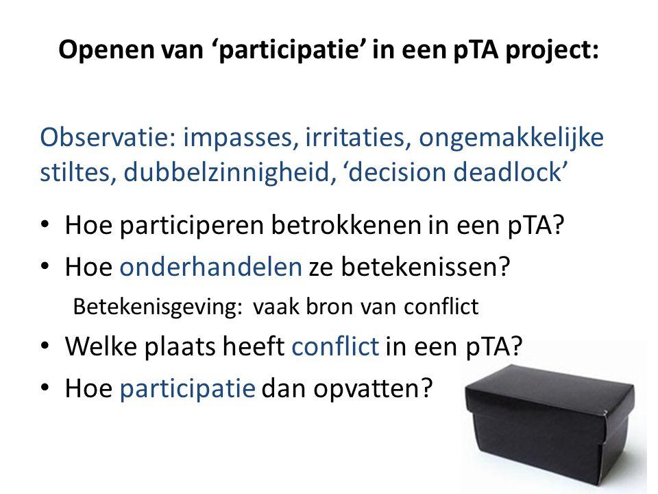 Openen van 'participatie' in een pTA project: