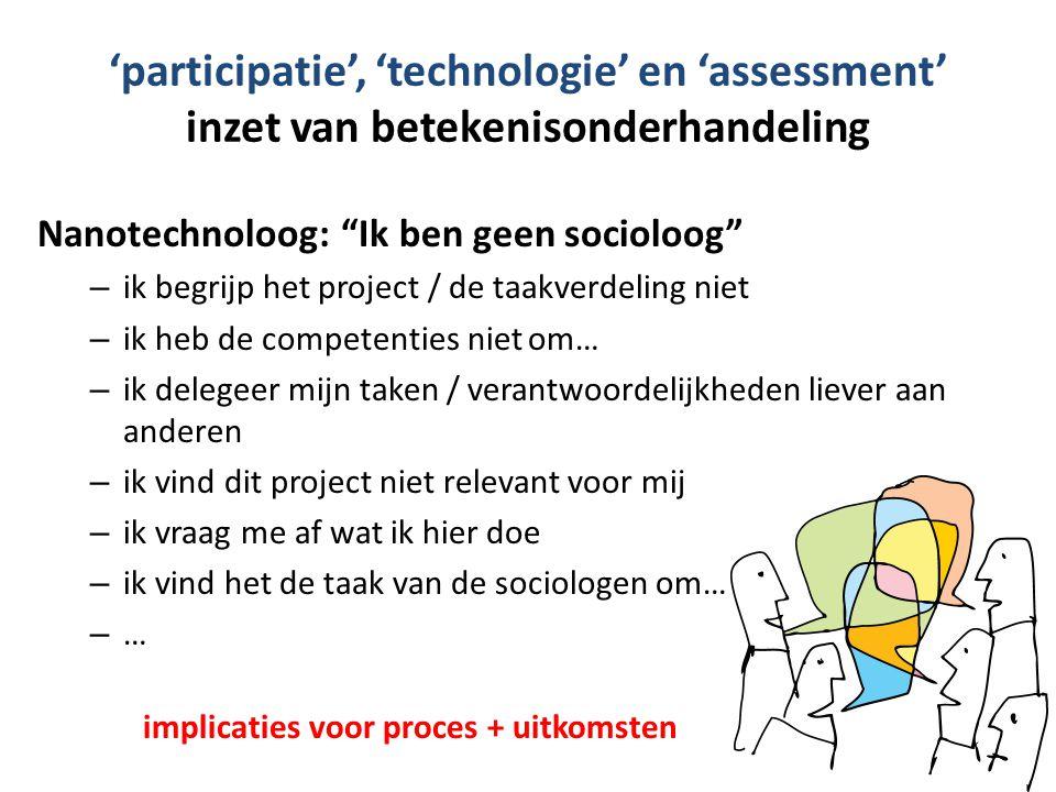 'participatie', 'technologie' en 'assessment' inzet van betekenisonderhandeling