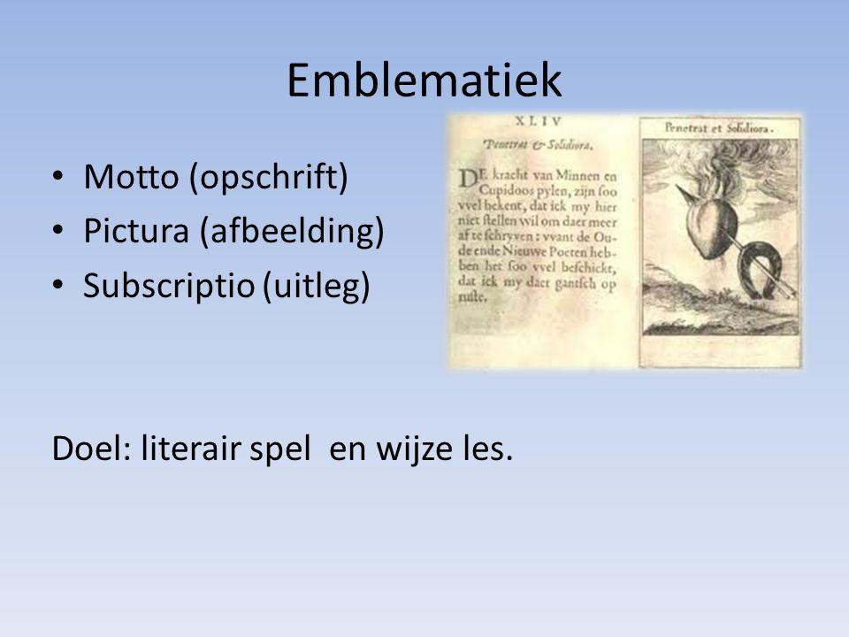 Emblematiek Motto (opschrift) Pictura (afbeelding)