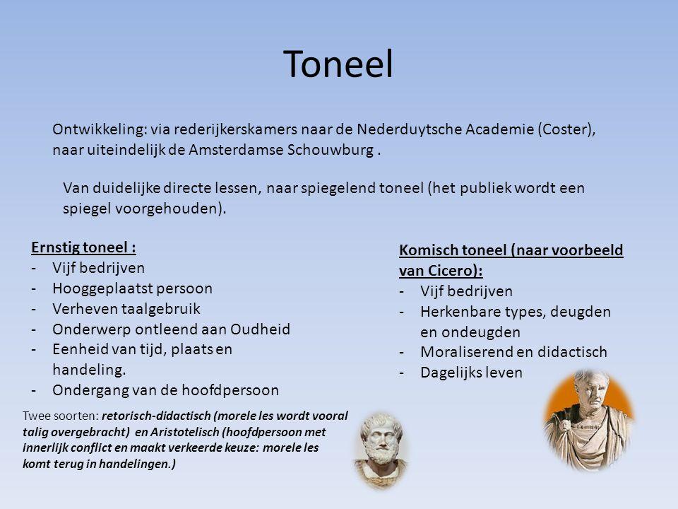 Toneel Ontwikkeling: via rederijkerskamers naar de Nederduytsche Academie (Coster), naar uiteindelijk de Amsterdamse Schouwburg .