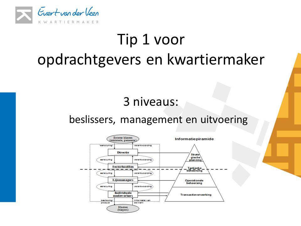 Tip 1 voor opdrachtgevers en kwartiermaker