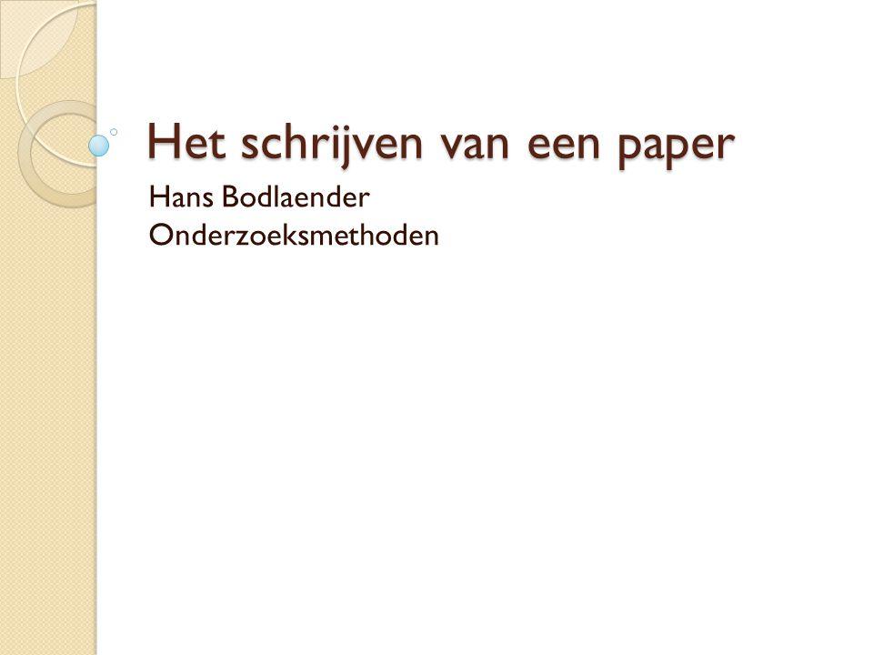 Het schrijven van een paper