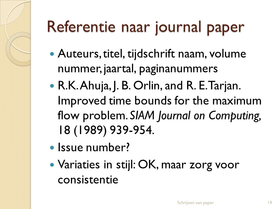 Referentie naar journal paper