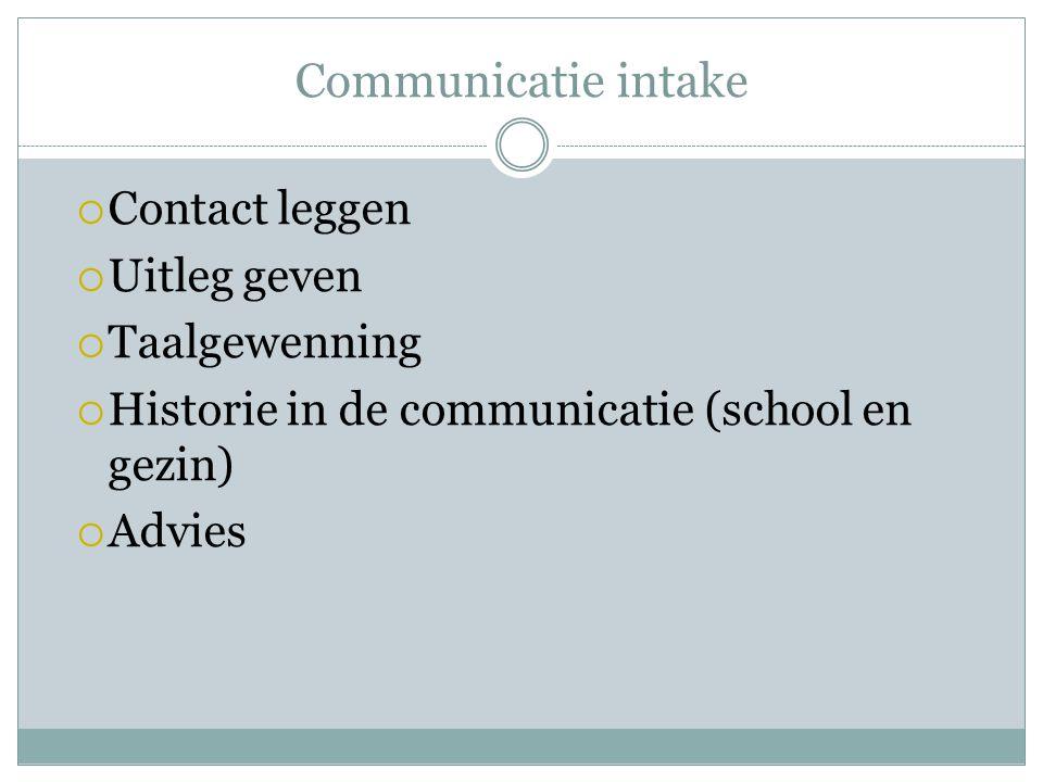 Communicatie intake Contact leggen Uitleg geven Taalgewenning