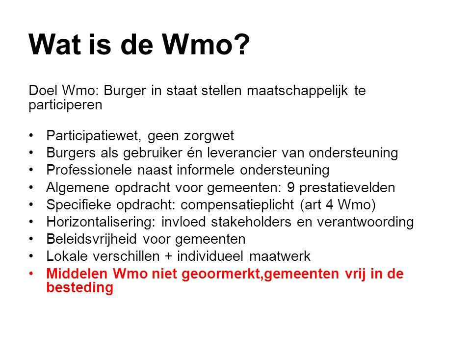 Wat is de Wmo Doel Wmo: Burger in staat stellen maatschappelijk te participeren. Participatiewet, geen zorgwet.