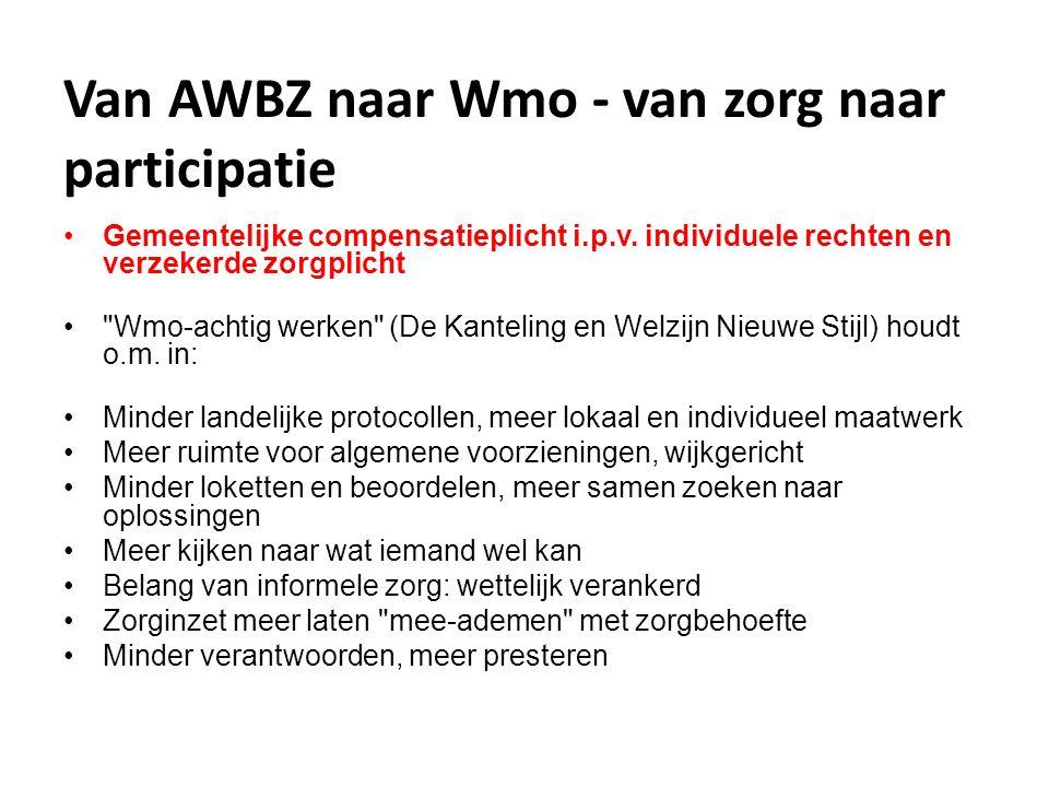 Van AWBZ naar Wmo - van zorg naar participatie
