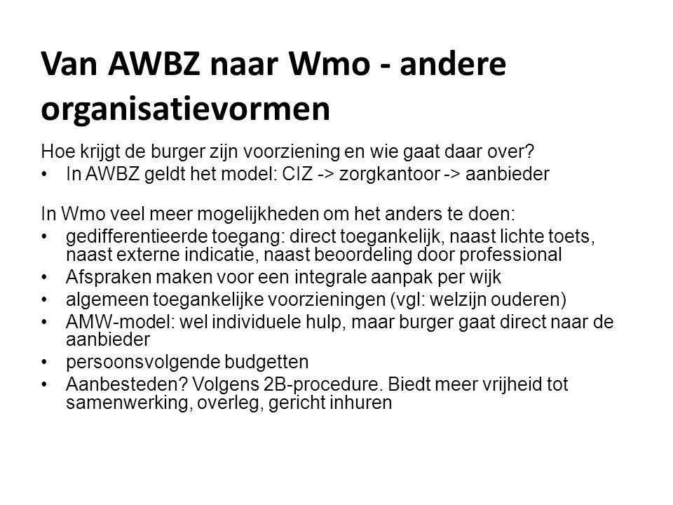 Van AWBZ naar Wmo - andere organisatievormen