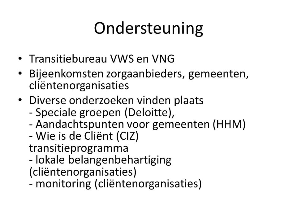 Ondersteuning Transitiebureau VWS en VNG