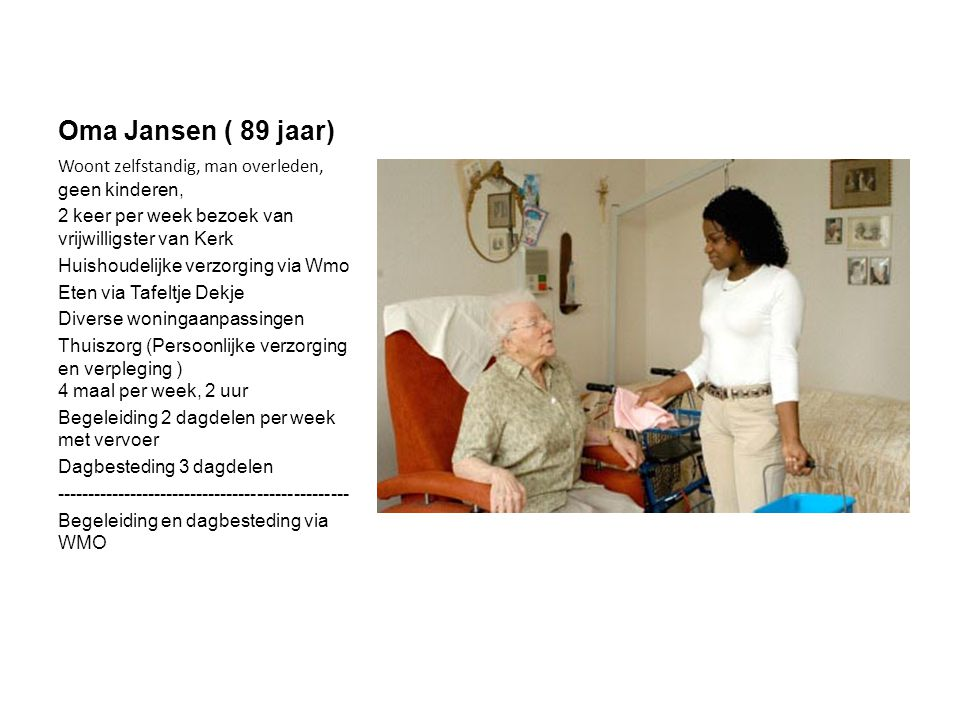 Oma Jansen ( 89 jaar) Woont zelfstandig, man overleden, geen kinderen,