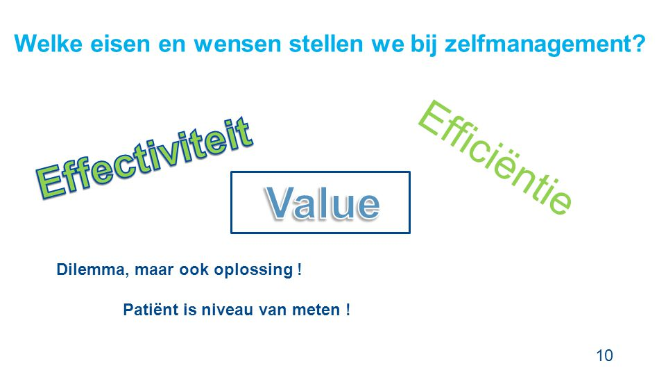 Effectiviteit Efficiëntie Value