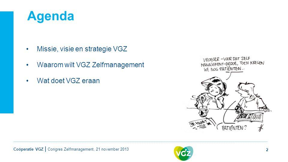 Agenda Missie, visie en strategie VGZ Waarom wilt VGZ Zelfmanagement
