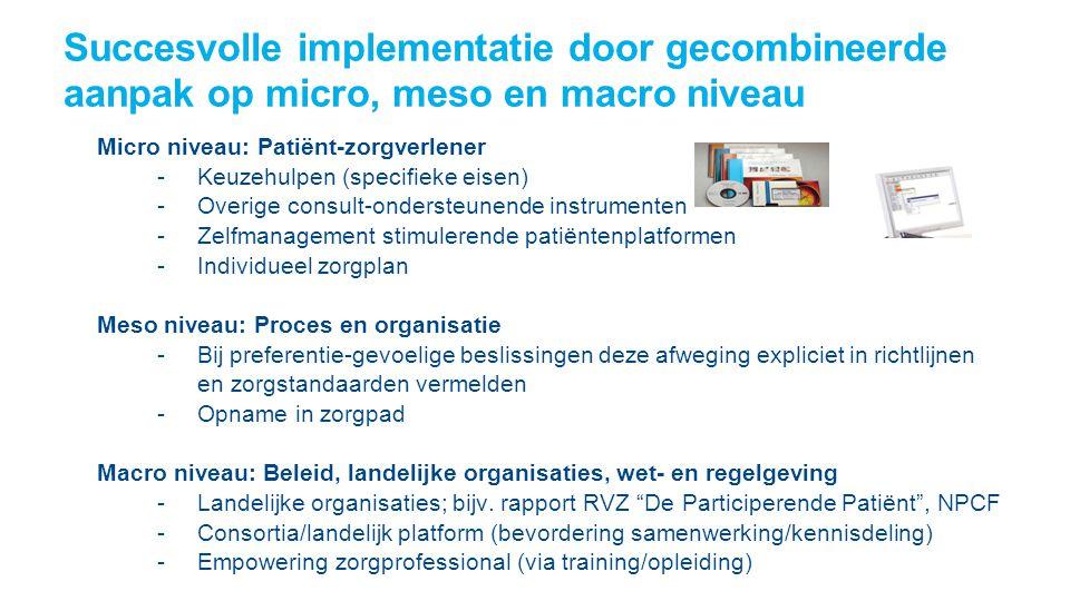 Succesvolle implementatie door gecombineerde aanpak op micro, meso en macro niveau