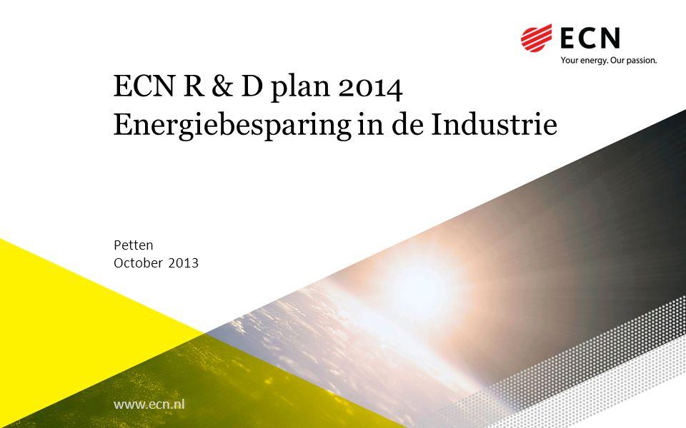 ECN R & D plan 2014 Energiebesparing in de Industrie