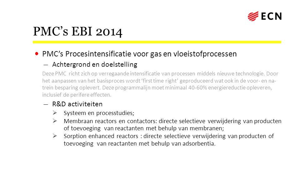 PMC's EBI 2014 PMC's Procesintensificatie voor gas en vloeistofprocessen. Achtergrond en doelstelling.