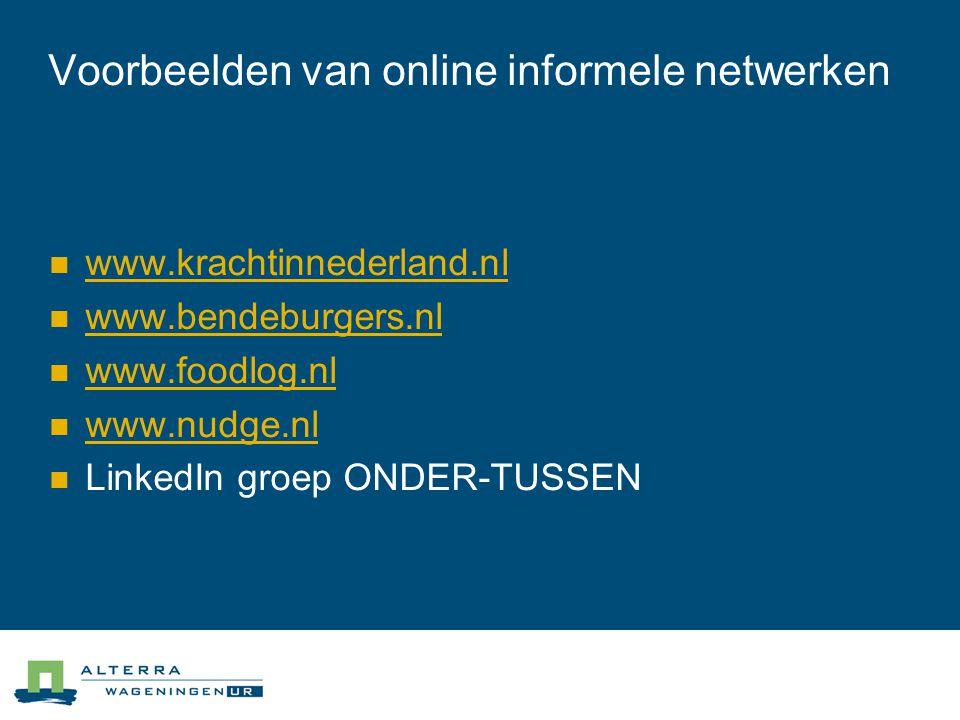 Voorbeelden van online informele netwerken